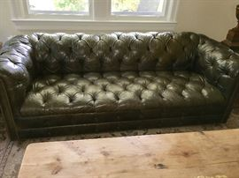 Beautiful olive toned quilted leather sofa