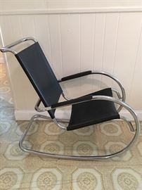 New chrome and leather modern rocker (1)