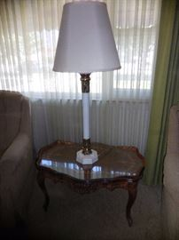 Vintage Hand Carved Mahogany Cocktail Table.Top has Mahogany  Inlay with Glass Top. TALL Mid Century Table Lamp,Linen Shade.