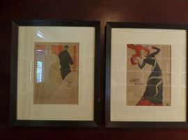 Toulouse-lautrec  set of six art prints. Matching frames