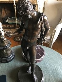Dionysus, By Donatello d. 1905 Bronze on Marble Base