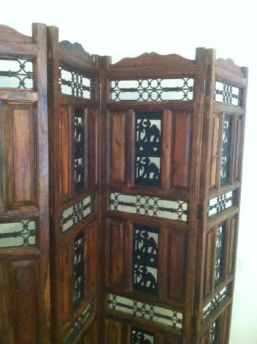wooden folding screen with camel decor
