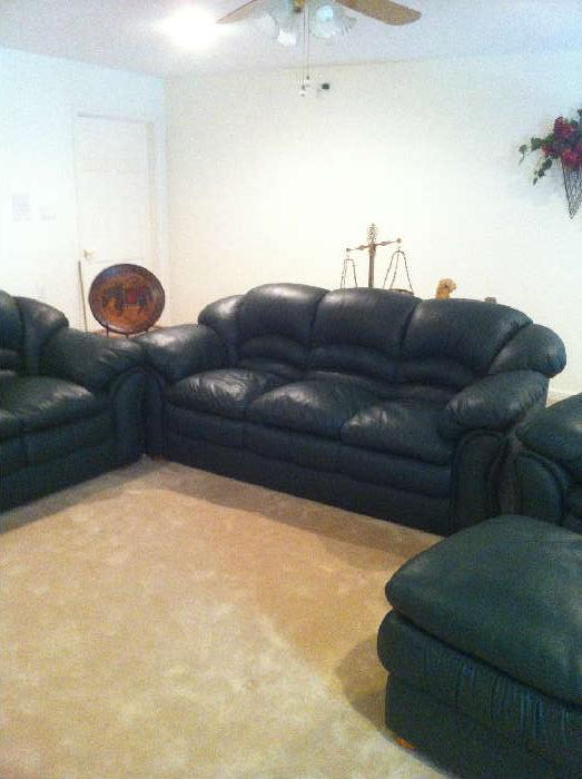 fine Italian leather sofa, love seat, chair, ottoman