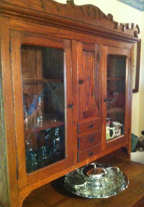 Hoosier Type Oak Kitchen Cupboard
