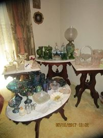 Several Marble top Victorian Tables, etc.... Carnival, Moon/Star, Lenox, Northwood, etc. etc.. HOUSE FULL..