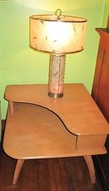 Heywood Wakefield table. Cool lamp, one of two matching with original fiberglass shades.