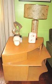 Cool two sided Heywood Wakefield corner table.