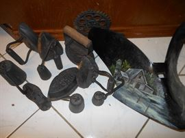 Cast iron irons/painted plow sweep