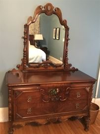 Hand painted antique dresser with matching Bed and highboy