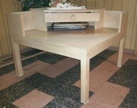 Lane Mid-Century Modern Corner Table with Drawer in Blond Wood