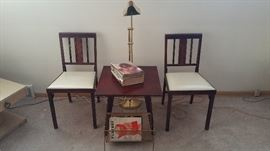 MCM Danish Modern Leg-O-Matic Folding Chairs (hard to find style), MCM Danish Modern Table with rotating top.