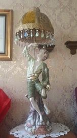 Azzolin Brothers Boy Eating Grapes Capodimonte Lamp with Gold and Flocked Gold Panel with Crystals lamp shade