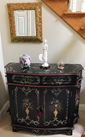 Hand Painted Commode Chest, Vintage Gold Gilt Mirror