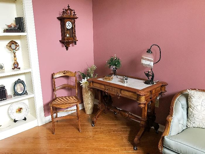 Antique Eastlake Victorian Walnut Library Table, Caned Chair, Victorian Wall Clock & more