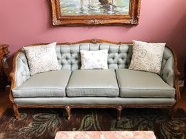 1920s Walnut French Country Canape Sofa (Refurbished)