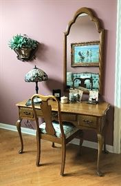Vintage David Cabinet Co Writing Desk with Chair, Large Vanity Mirror & More