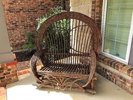 American Twig (Willow) Adirondack Style Bow Back Love Seat