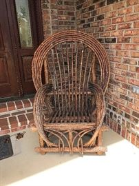 American Twig (Willow) Adirondack Style Bow Back Chair