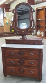 Mid-Victorian Walnut Dresser w/ Marble Top, Glove Boxes & Mirror