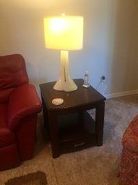 Pair of matching end tables and lamps
