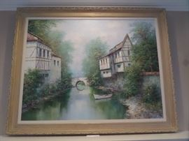 """This """"Landscape"""" by Theo Rauscher was purchased from Rust and Martin in Cape Girardeau, MO around 1990.  The original price was $2,000.  The Maxton's paid $1,500.  We are taking bids until 11:00 AM Saturday - starting at $700.  If you would like to take it home immediately, the 'buy it now' price is $1,500.  One just like it is listed on EBAY for $2,750."""