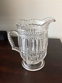 Early American Pressed Glass Pitcher, Irish