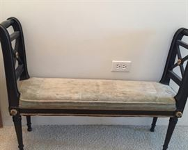 Petite Antique Bench with Sage Green Cushion