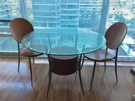 Designer Round Table with 2 Modern Chairs