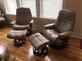 Two Ekornes Stressless chairs. Excellent condition.