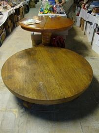 Round oak coffee table; round dining table