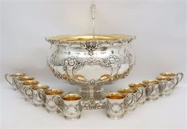 Monumental 4 Gallon Solid Sterling Silver Francis I Punch Bowl, 12 cups and matching ladle. All available in the June 25th auction. 1 PM EST