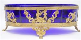 """19th c. French Bronze and Cobalt Center Bowl 12"""""""