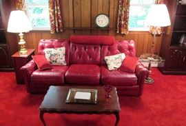 Red Leather 3 Cushion Sofa, Floor Lamp, Coffee Table, Electric Heater