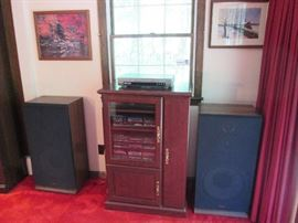 Large Fisher Speakers, Electronic Sound Components, Storage Cabinet
