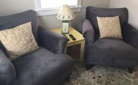 Club chairs, rug, table, home decor!