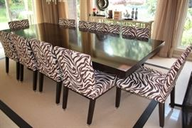 Contemporary Wood/Chrome Dining Table with 10 Zebra Print Chairs and Chrome Feet