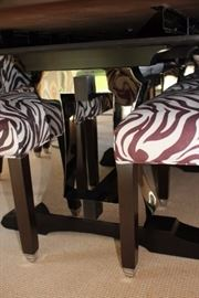 10 Zebra Print Chairs and Chrome Feet