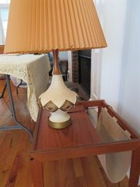 #6-Danish Style Teak Side table with burlap sling magazine rack-$260. Does not include lamp.