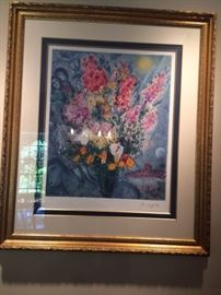 Signed & numbered Marc Chagall Lithograph in gold frame