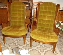 Pair of chairs with caned sides