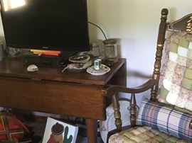 Great antique table plus TV and misx