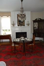 Center of Room.Circa 1800 Antique Federal Inlaid Banquet Table Two D ends with Drop Leaves.Mahogany. 29 x 48 x 82