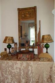 Pair of Matching Antique Lamps,Asian Art Figurine's, Antique Lap Top Writing Desk, Antique Gilded Mirror.