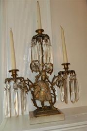 One of the Pair of Antique Brass,Marble & Crystal Candelabra with 3 Candlestick Holders.