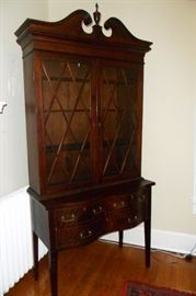 Antique Circa 1880's Federal Style Cabinet with Reverse Serpentine Base & Inlaid Mahogany.