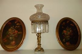 Antique Gilt Brass Figural Lamp with Etched Glass Shade & Crystal Drop Pendents. Pair of Antique 19th Century Oval Still Life Works,Unsigned,Dutch School.19 1/2 x 14.