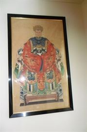 One of 2 Two Antique Asian Ancestor Wall Hangings