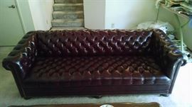 tufted leather sofa by Hancock Moore 2000 3 pc set
