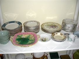 Majolica, Limoges, and other plates