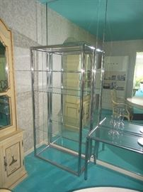 Chrome and Glass Etagere, Chrome and glass  sofa table